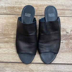 Eileen Fisher Juju Leather Mule Sandals Size 7